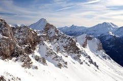 Alta montagna in alpi austriache in inverno Fotografie Stock Libere da Diritti