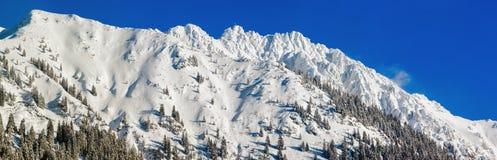 Alta montagna con l'incrocio della sommità sotto neve profonda nell'inverno Rauhhorn, Allgau, Baviera in Germania Fotografia Stock