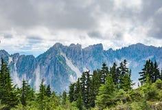 Alta montagna con la nuvola e la foresta verde Immagine Stock Libera da Diritti