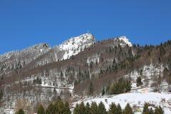 Alta montagna con neve bianca sull'inverno Fotografia Stock Libera da Diritti