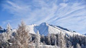 Alta montagna di Tatras coperta di neve Fotografia Stock