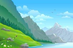 Alta montagna e paesaggio scenico del fiume Immagini Stock Libere da Diritti
