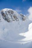 Alta montagna italiana con neve, sportivo dello sciatore Fotografia Stock Libera da Diritti