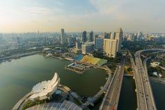 Alta parte anteriore del porto di vista del paesaggio a Singapore Immagine Stock Libera da Diritti