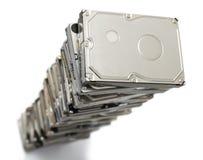 Alta pila de discos duros usados Fotografía de archivo libre de regalías