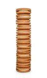 Alta pila di biscotti con crema Immagine Stock