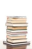 Alta pila di libri isolata Fotografia Stock