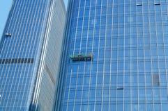 Alta pulizia di vetro di costruzione della parete divisoria Fotografia Stock