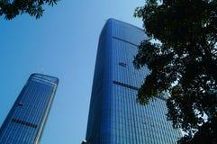 Alta pulizia di vetro di costruzione della parete divisoria Immagini Stock Libere da Diritti