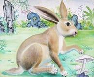 Alta relevación del conejo y pintura de pared Fotografía de archivo libre de regalías