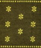 Textura dos tecidos de algodão - Khaki com testes padrões amarelos Fotografia de Stock