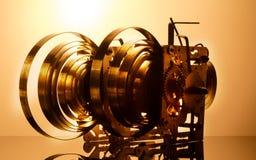 Alta risoluzione del meccanismo dell'orologio Fuoco sugli ingranaggi centrali Fotografia Stock Libera da Diritti