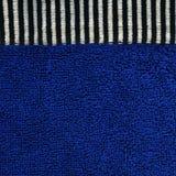 Struttura del tessuto di cotone - blu con le bande nere & bianche Immagine Stock Libera da Diritti
