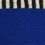 Struttura del tessuto di cotone - blu con le bande nere & bianche Fotografie Stock