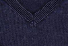 Struttura del tessuto di cotone - blu navy con il collare Immagini Stock