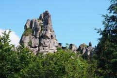 Alta roccia di pietra nella foresta Fotografia Stock Libera da Diritti