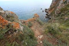 Alta scogliera sopra il mare Fotografie Stock