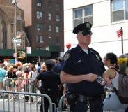 Alta segurança durante o New York City Pride March, NYC, NY, EUA Fotografia de Stock Royalty Free