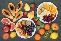 Alta selezione dietetica della frutta della fibra Fotografia Stock