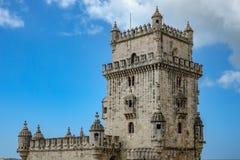 Alta sezione di Lisbona Torre de Belem Immagini Stock Libere da Diritti