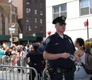 Alta sicurezza durante il New York Pride March, NYC, NY, U.S.A. Fotografia Stock Libera da Diritti