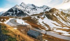 Alta strada alpina di Grossglockner in Austria nel crepuscolo Immagini Stock Libere da Diritti
