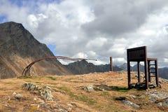 Alta strada alpina Frontiera fra l'Austria e l'Italia Fotografie Stock