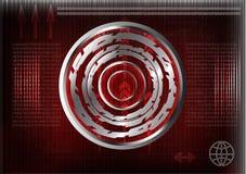 Alta tecnologia Grupo de linhas em um fundo vermelho Fotos de Stock