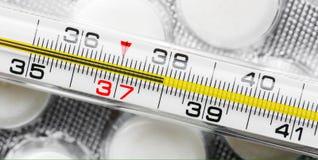 Alta temperatura corporea malattia Immagine Stock