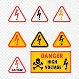 Alta tensão ajustada do perigo do ícone do vetor no fundo transparente isolado Sinal de aviso com teste padrão e seta do crânio V ilustração do vetor