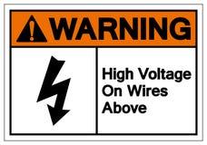 Alta tens?o de advert?ncia em fios acima do sinal do s?mbolo, ilustra??o do vetor, isolado na etiqueta branca do fundo EPS10 ilustração do vetor