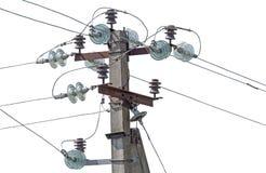 Alta tensione elettrica della torre su bianco Fotografie Stock Libere da Diritti
