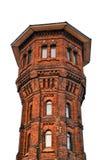 Alta torre del mattone isolata su fondo bianco Fotografia Stock Libera da Diritti