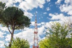 Alta torre di telecomunicazione della rete ed alberi verdi Immagine Stock Libera da Diritti