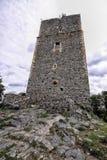 Alta torre medievale del castello sulla collina rocciosa Fotografia Stock Libera da Diritti