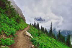 Alta traccia alpina e nebbia pesante in Glacier National Park Fotografia Stock Libera da Diritti