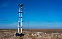 Alta transmisión de poder del voltaje eléctrico foto de archivo libre de regalías