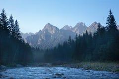 Alta valle di Bielovodska - di Tatras nella mattina Fotografie Stock Libere da Diritti