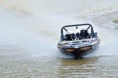Alta velocidade de competência da lancha da competência de barco do jato de Jetsprint a terminar Fotografia de Stock