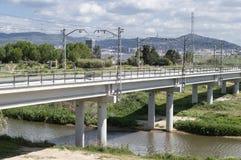 Alta velocità del ponte ferroviario Fotografia Stock Libera da Diritti
