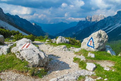 Alta Via sign mark in Dolomites Royalty Free Stock Image