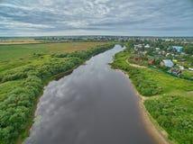 Alta vista aerea del fiume di Vologda in Russia Immagini Stock Libere da Diritti