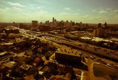 Alta vista aerea sopra l'antenna 2016 dell'orizzonte di Austin Looking East Sepia Austin il Texas Fotografia Stock Libera da Diritti