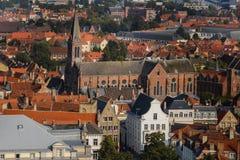 Alta vista ai tetti di Bruges Immagine Stock