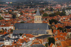 Alta vista ai tetti di Bruges Fotografia Stock