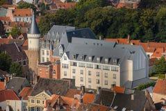 Alta vista ai tetti di Bruges Immagini Stock