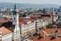 Alta vista de la ciudad de Cluj Napoca Imagenes de archivo