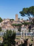 Alta vista dei mercati di Traiano e parte di Roman Forum Fotografie Stock