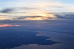 Alta vista del cielo del mare di Marmara durante il tramonto Fotografie Stock Libere da Diritti
