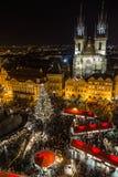 Alta vista del mercato di Natale di Praga Fotografie Stock